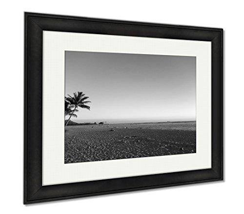 Ashley Framed Prints People Hang Out At Ala Moana Beach Park At Dusk, Office/Home/Kitchen Decor, Black/White, 30x35 (frame size), Black Frame, - Shops Ala At Moana