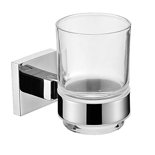 Leyden TM Wall Mount Mirror Polished Stainless Steel Material Quadrate Toothbrush Holder With Glass Cup Bathroom Accessories (Polished Holder Toothbrush)