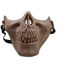 Tan Color Skull Skeleton Airsoft Paintball Half Face Protect Mask Adjustable