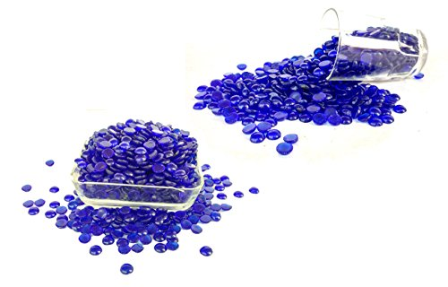 Rastogi Handicrafts Centerpieces, ,Glass Gems for Vase Fillers,Wedding Decoration Pebbles One side flat 100 pcs (Blue)12 mm