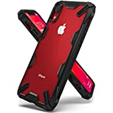 """Ringke Fusion-X Designed for iPhone XR Case Clear Hard PC Back with Shock Imbibe Effect Solid Defense Bumper Protection Cover for iPhone XR 6.1"""" (2018) - Black"""