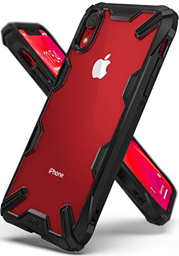 Ringke Fusion-X Designed for iPhone XR Case Clear Hard PC Back with Shock Imbibe Effect Solid Defense Bumper Protection Cover for iPhone XR 6.1 (2018) - Black