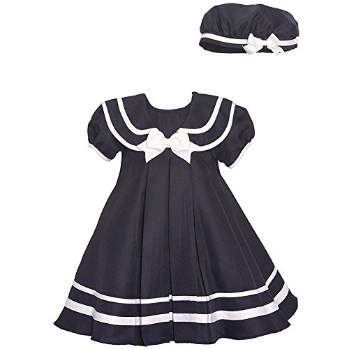 Rare Editions Baby Girls Navy White Stripe Bow Accent Sailor Hat Dress (Sailor Hat With Blue Bow)