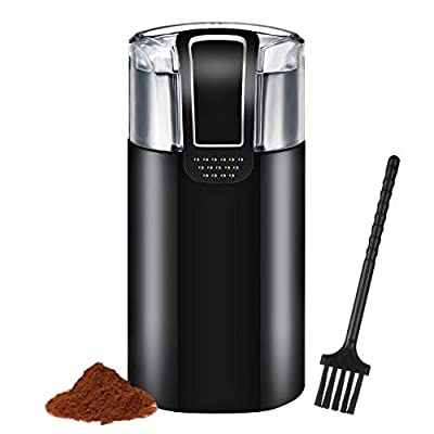Coffee Grinder Electric, IKICH 120V Powerful Blade Coffee Bean & Spice Grinder with 12 Cups Large Grinding Capacity, Cord Storage, Portable & Compact, also for Spices, Pepper, Herbs, Nuts, Seeds, Grains and More【Lifetime Warranty】 by IKICH