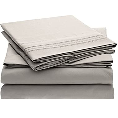 Ideal Linens Bed Sheet Set - 1800 Double Brushed Microfiber Bedding - 4 Piece (Queen, Light Gray)