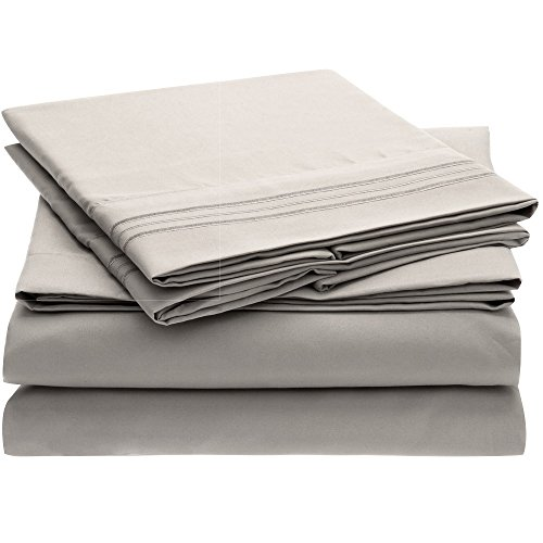 Harmony Linens Bed Sheet Set - 1800 Double Brushed Microfiber Bedding - Deep Pocket, Hypoallergenic - Wrinkle, Fade, Stain Resistant Sheets - 3 Piece (Twin, Light Gray)