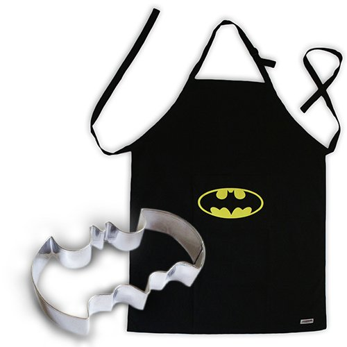 Batman Apron Bib with a Pocket, 100% Black Cotton and Batman Cookie Cutter bundle, The combo to master your kitchen (Cake Splatter Cookie Cutter)