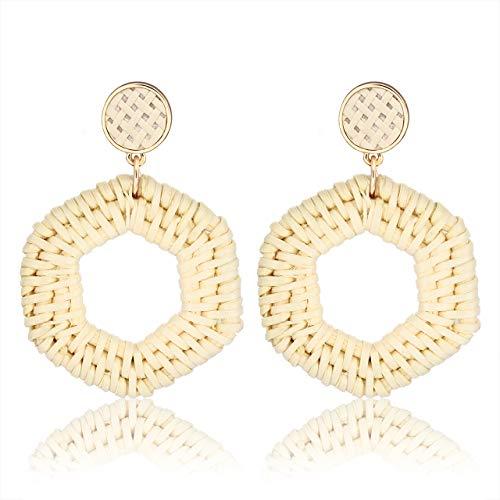 CEALXHENY Rattan Earrings for Women Handmade Straw Wicker Braid Drop Dangle Earrings Lightweight Geometric Statement Earrings (D Hexagon)