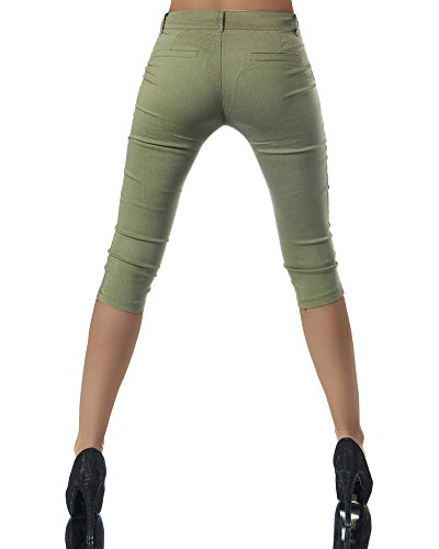Minetom Pantalons Femme Sport Skinny Sarouel Pantacourt Eté Vert 3 Shorts Legging Pants Courts Confortable Yoga Fitness Casual 4 Boutons Mode rtrwS
