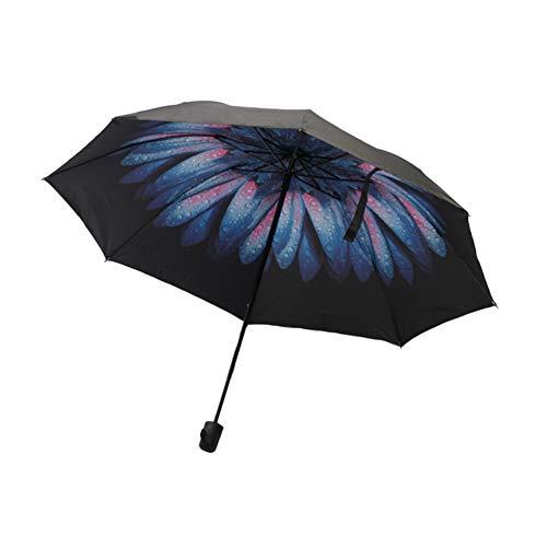 Gsdviyh36 Portable Reverse Print 3-Fold Anti-UV Protection Rain Sunshade Umbrella Sun&Rain Travel Umbrella - Compact Mini Umbrella 3