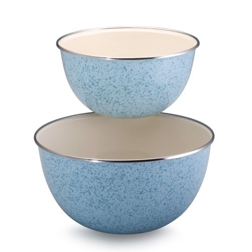 Paula Deen Signature Enamel on Steel 1.5-Quart and 3-Quart 2-Piece Mixing Bowl Set, Robin's Egg Blue Speckle