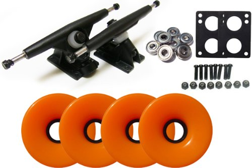 (Randal 180 Black Longboard Trucks Package 70mm Wheels Solid Orange)