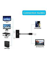 Adaptador USB C a HDMI, CHOETECH USB C Adaptador de puerto de carga con tipo C pd   Soporta 4 K  60Hz para 2017 2016 MacBook Pro, 2016 2015 MacBook, Samsung Galaxy Note 8 S8 S8 Plus (compatible con Thunderbolt 3)