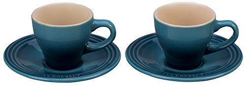 Le Creuset Stoneware Set of 2 Espresso Cups and Saucers - Marine by Le Creuset