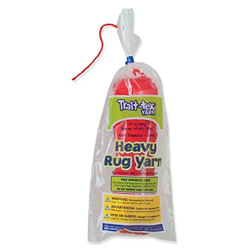 (Trait-tex PAC04093BN Heavy Rug Yarn, Red, 60 Yards Per Pack, 6 Packs)