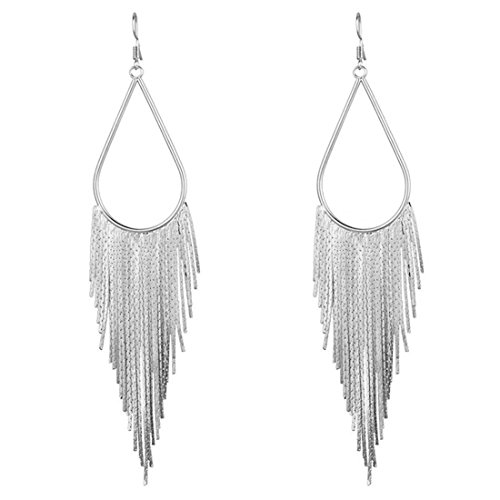 (Dangle Long Tassel Women's Earrings Tear Drop Chandelier Styled White Gold Plated Jewelry Banquet)