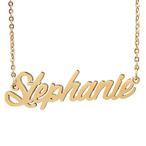 (AIJIAO 18k Gold Plated Script Nameplate Name Necklace Personalized Choker Women Gift/Stephanie)