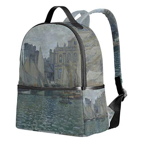 WIHVE School Backpacks Monet Art The Havre Museum Lake Sailboat School Shoulder Bag Bookbag