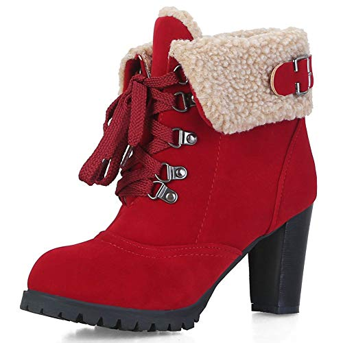 (DecoStain Women's Classic Lace Up Block Heel Winter Short Boots with Fur Shoes Keep Warm Ankle Boots)