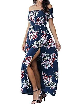 Azalosie Women Off Shoulder Maxi Dress Floral Short Sleeve Empire Waist Boho Dress Slit for Summer Beach