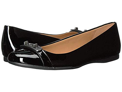 Coach Womens Oswald Leather Closed Toe, Black/Black Patent/Patent, Size 8.0