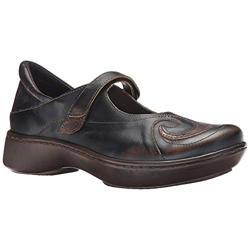 Naot Women's Sea Mary Jane Flat, Volcanic Brown Leather/Bronze Shimmer Suede, 41 EU/9.5-10 M US
