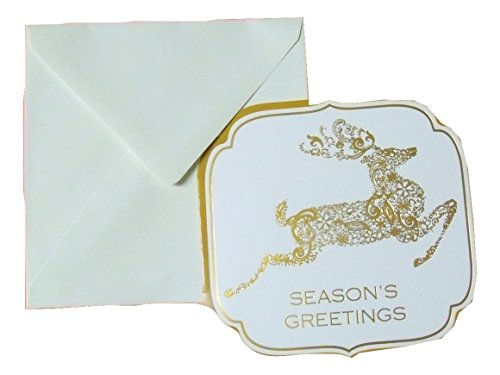 Holiday Foil Blank Cards ~ Season's Greetings, Reindeer (Gold Foil, 6 Shaped Cards with Ivory Envelopes; 5