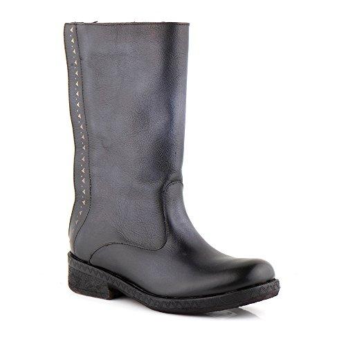 Felmini - Zapatos para Mujer - Enamorarse com Beta A236 - Botas Altas Cowboy & Biker - Cuero Genuino - Negro Negro