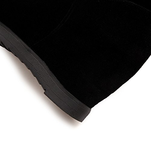 Toe Resistant AdeeSu Black Casual Womens SXC02118 Round Slip Suede Boots wfq74Rqxn