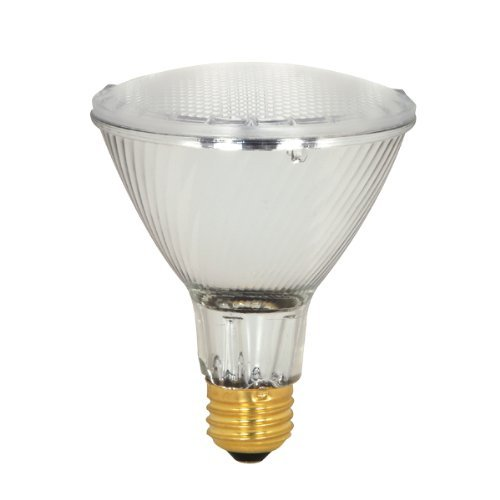 Satco S2241 39 Watt (50 Watt) 530 Lumens Par30 Long Neck Halogen Wide Flood 50 Degrees Clear Light Bulb, Dimmable