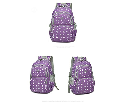 Estudiantes Candy Color Escuela Bolsa Dog Paw Prints Estilo La Bolsa de Hombro Mochila Ladies Notebook Computer Bag Bolsa de Estudiante Universitario Bolsa de Escuela Purple