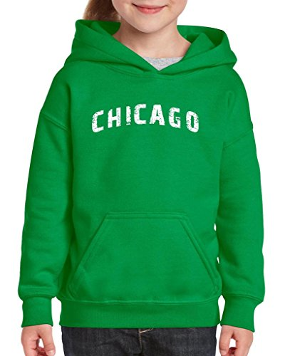 Xekia Chicago illinois Distress Windy State Hoodie For Girls and Boys Youth Kids Small Irish - Kelly Chicago Cubs Green