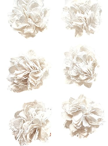 (Off White Canvas & Lace Ruffly Flowers, Embellishments, Apparel, Crafts, 6 Ct, Elegant Blooms & Things)