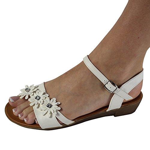 Schuhtraum Damen Sandalen Sandaletten Blumen Keilabsatz Zehentrenner ST42 Weiß