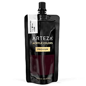 ARTEZA Acrylic Paint Bordeaux Red Color (120 ml Pouch, Tube), Rich Pigment, Non Fading, Non Toxic, Single Color Paint for Artists, Hobby Painters & Kids