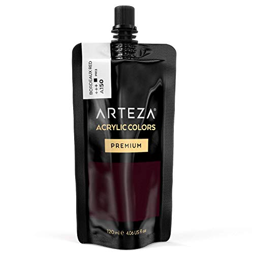 ARTEZA Acrylic Paint Bordeaux Red Color (120 ml Pouch, Tube), Rich Pigment, Non Fading, Non Toxic, Single Color Paint…