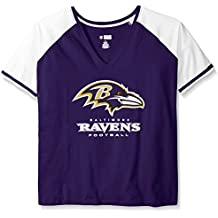 NFL Baltimore Ravens Women's Plus Size Deep Vee Raglan Tee, 2X, Purple