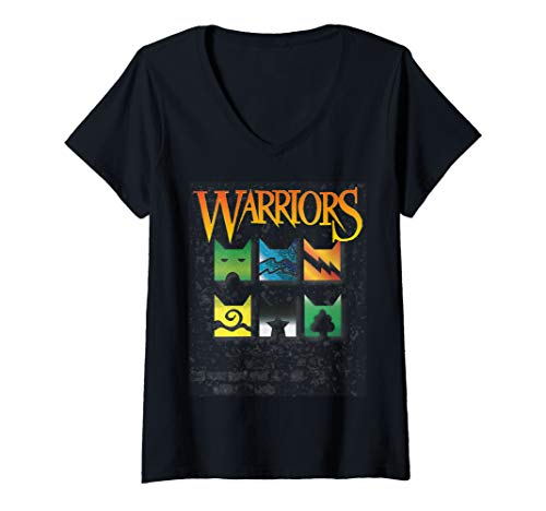 (Womens Warrior Cats Clan Icons T-Shirt | boy and girls book readers V-Neck T-Shirt)