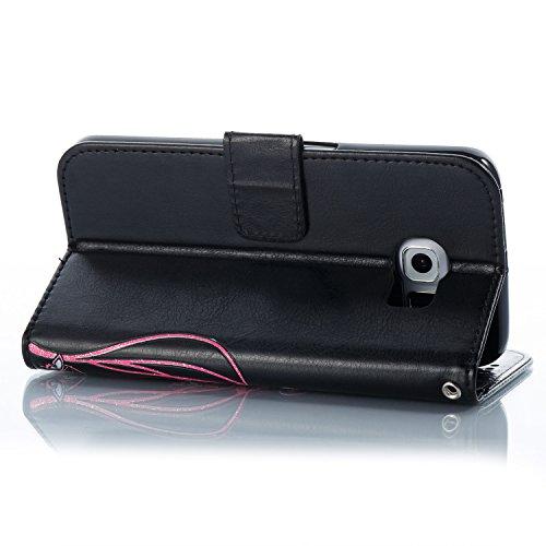 Para Samsung Galaxy S6 funda, (azur) Narcisos caja del teléfono de la PU patrón en relieve ,Función de Soporte Billetera con Tapa para Tarjetas correa de mano soporte para teléfono negro