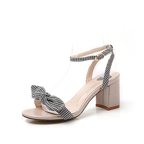 T July Womens Ladies Fashion Platform Bowknot Ankle Strap Sandals Walking Shoes Chunky Block Heel Slides Open Toe Dress Pump