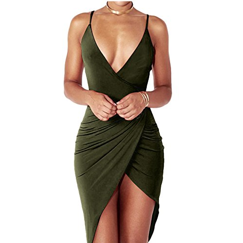 Anddyam Women's Sexy Deep V Neck Sleeveless Strap Bodycon Wrap Dress with Front Slit Club Dresses (M, (Sexy Wrap)