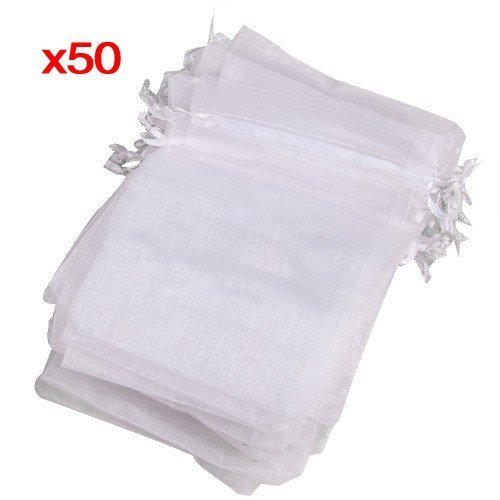 (Home Mart Organdy Drawstring wedding gift bag White pouch 50 pieces set)
