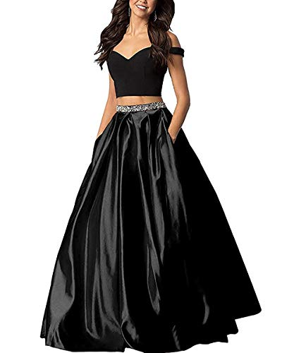 f09abda249bb Sophie Women's Long Off The Shoulder Two Piece Beaded Prom Dress Satin  Evening Gowns Formal with