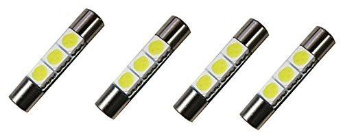 Cutequeen Trading 4pcs LED Mirror Fuse Sun Visor 6641 White 30mm(1.23