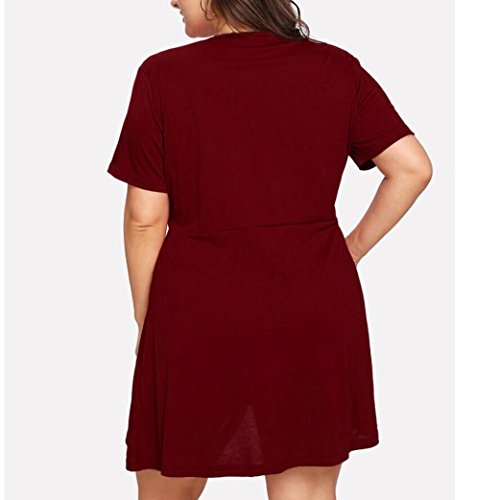Taille Plus Des Femmes Overmal Robe Col En V Profond T Chemise Taille Plus Solide Vin Rouge