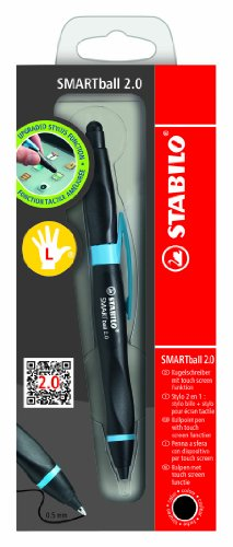 Stabilo Smartball Left Hand Pointball Pen Black Ink Cyan , Multicolored
