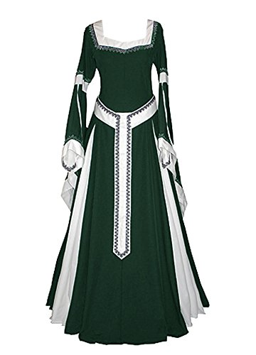 Misassy Womens Medieval Dress Renaissance Costumes Irish Over Long Dress Cosplay Retro (Pirate King Adult Costumes)
