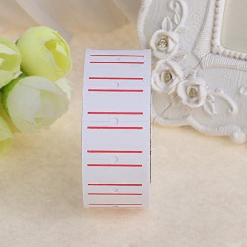 500 Etichette Dabixx 1 Rotolo Bianco Adesivo Autoadesivo Etichetta Prezzo Etichetta Bianca per Ufficio Doppia Linea Rossa