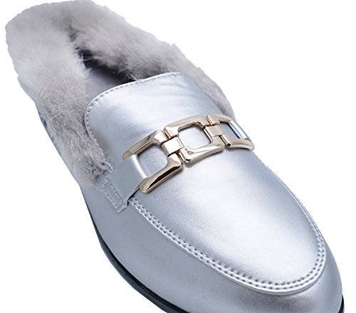 HeelzSoHigh Womens Flat Silver Fur Lined Slip-On Smart Mules Loafers Sliders Shoes Sizes 3-8 9EQm3Vn3b