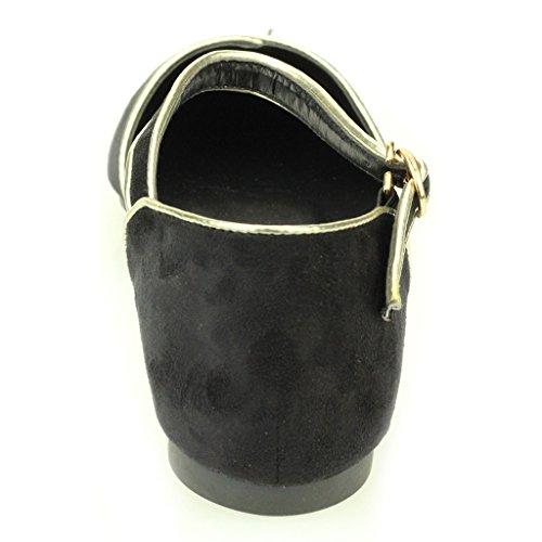 Mujer Señoras noche Casual cómodo Ballerinas De Bombas Zapatillas de Baloncesto Sandalia Zapatos Tamaño (Negro, Beige) Negro